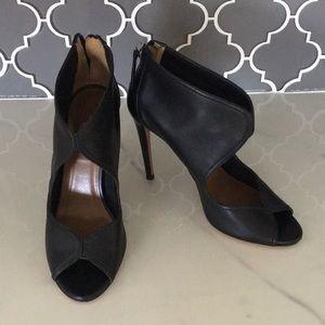 Aquazzura peep toe heels covered heel booties